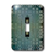 3dRose - Jos Fauxtographee Abstract - An Unreadable Sign on a Blue and Black Backdrop of Little Flower Patterns - Light Switch Covers