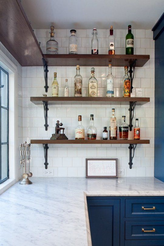Before & After: A Hollywood Home Gets a Mediterranean Kitchen — Kitchen Remodel - Love the cobalt cabinets with marble countertops