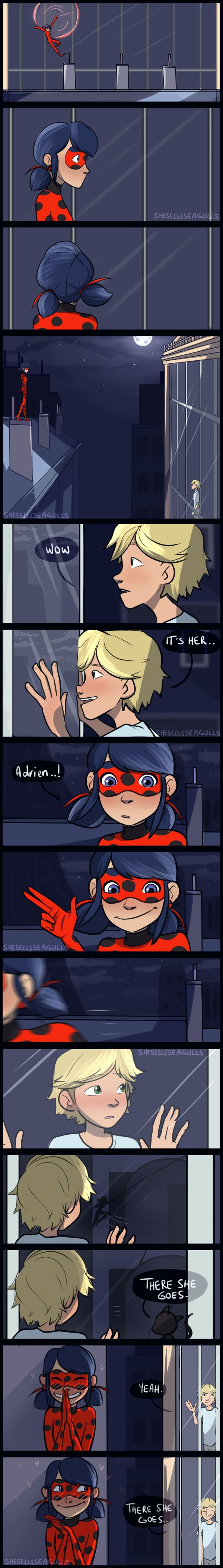 thereshegoes (ladybug comic) by she-sells-seagulls on DeviantArt  Is is me or does the part when mari makes a hand signal her fingers look huge... just saying... . .  But still cute!