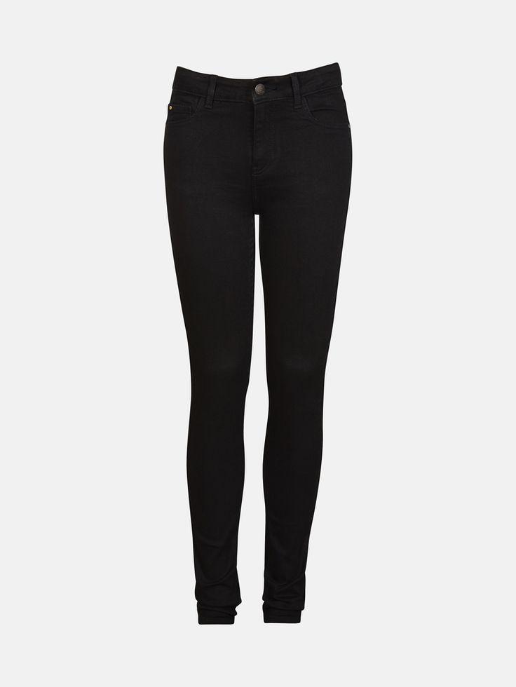 Jeans med smala ben och hög midja. Superstretch, mycket elastiska. Svart