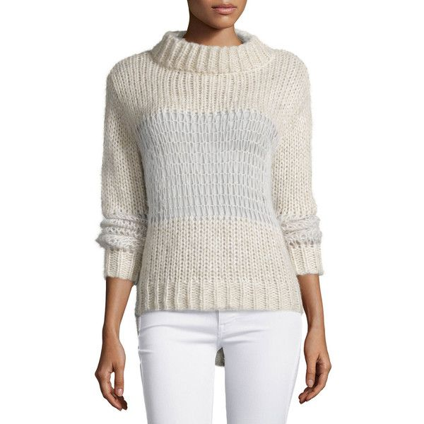 Banjo and Matilda Cobweb Funnel-Neck Sweater ($350) ❤ liked on Polyvore featuring tops, sweaters, ivory, relaxed fit tops, long sleeve tops, funnel neck sweater, stitch sweater and long sleeve sweaters