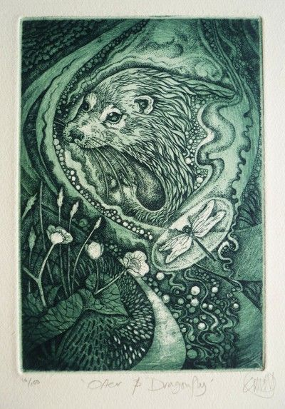 Otter by Louise Scott (Etching)