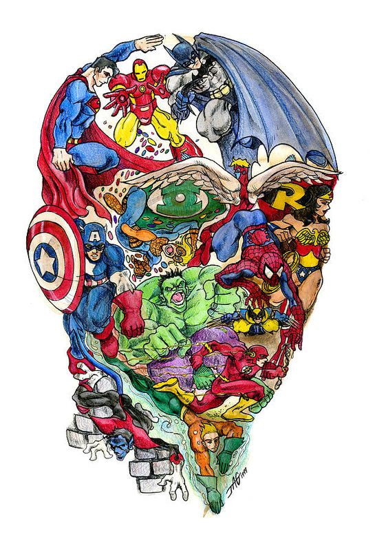 Surreal Art Print featuring the drawing Heroic Mind by John Ashton Golden