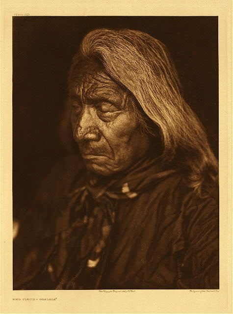 """Red Cloud - Ogalala, 1905. Photogravure. Curtis Caption: """"A biographical sketch of this well-known chief and celebrated warrior is given n page 187 of Volume III."""""""