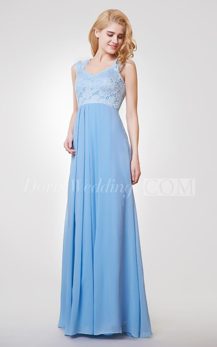 Light Blue A Line Long Chiffon and Lace Short Bridesmaid Dress With Straps. Find your dream bridesmaid dresses on www.doriswedding.com. Sort by color, designer, fabric and more and discover the bridesmaid dress you love. #long #blue #DorisWedding.com