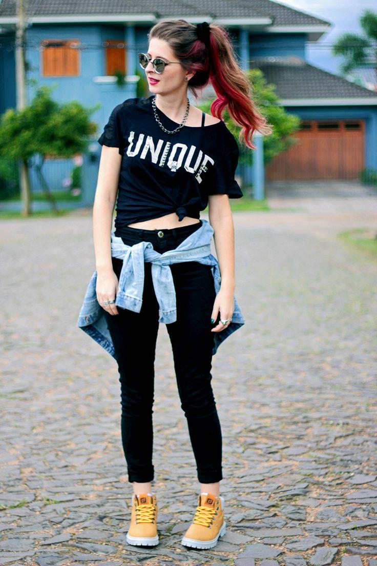 Meninices da Vida: Look: T-shirt, calça cintura alta e coturno amarelo!