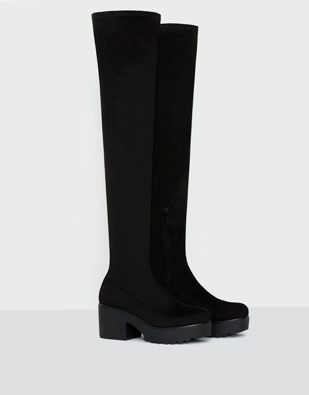 Botte haute stretch - Bottes et bottines - Chaussures - Femme - PULL&BEAR France