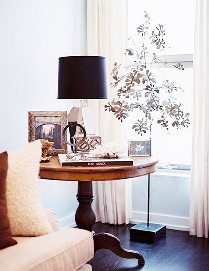 The Décor Trend That Will Rock Your World//black lamp shade, tree sculpture: Side Tables, Living Rooms, Trees Sculpture, Interiors Design, End Tables, Accent Tables, Round Tables, Metals Trees, Tables Style