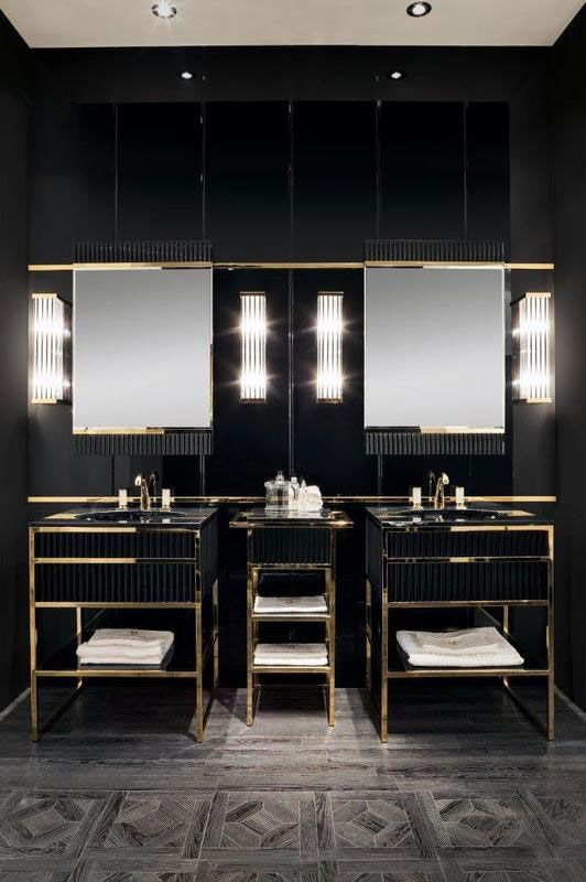 His ACADEMY By Oasis Vanity Area Combines Marble, Lacquer And Metal For  Fine Art