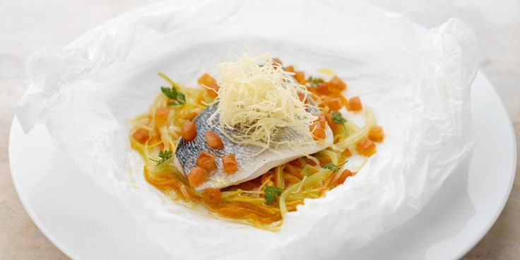 This stunning sea bream recipe pairs the fish with vegetables and slices of potato