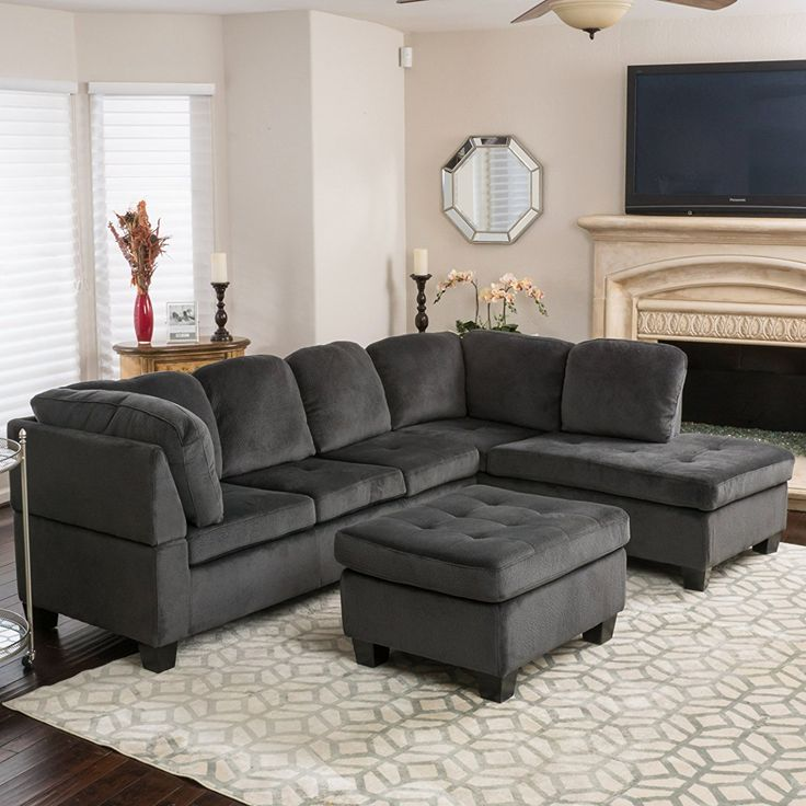 Charcoal Fabric Sectional Sofa Set