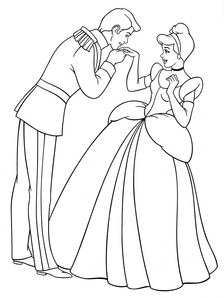 Walt Disney Coloring Pages Prince Charming & Princess