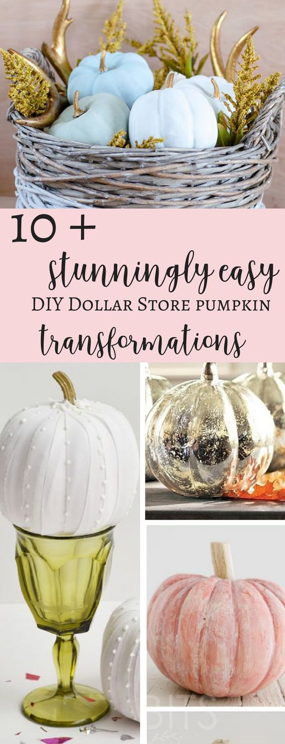 Stunningly Easy DIY Dollar Store Pumpkin Transformations that are actually achievable and look so incredibly beautiful whilst being very cheap to do.