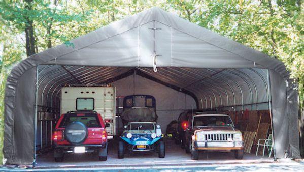 3 Car Garage 30' wide ShelterLogic Portable Garage fully ...