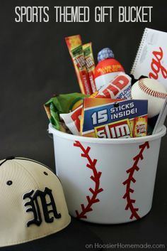 DIY Sports themed goodie basket just in time for Father's day @Hoosier Homemade