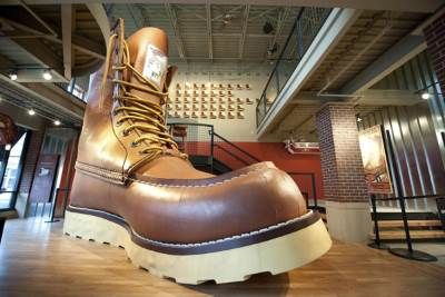 This is the world's largest boot located in the Red Wing Museum and Retail Store.