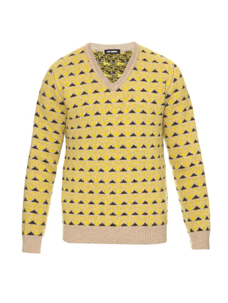 Graphic jacquard wool-knit sweater  | Raf Simons | MATCHESFASHION.COM