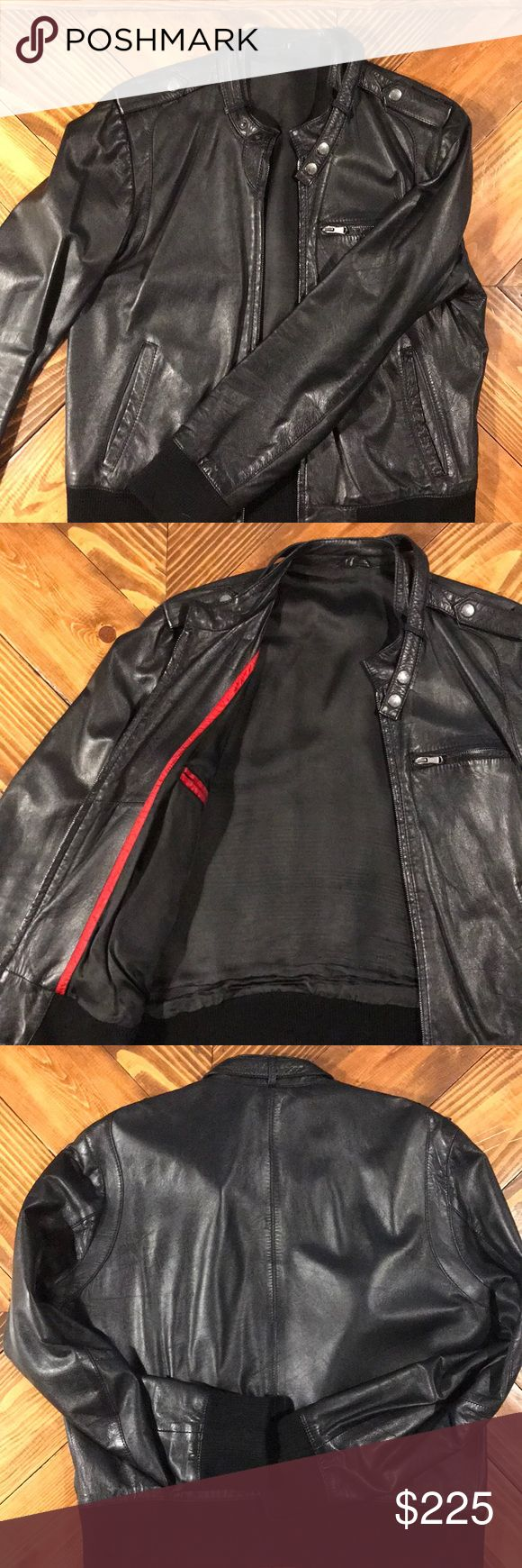 Hugo Boss leather jacket Boss leather jacket, Leather