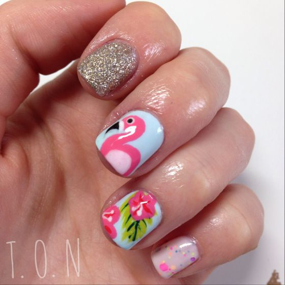 Flamingo/Tropical Nails