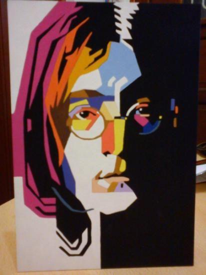 Cuadro john lennon cubismo acrilico pincel barniz mate for Cuadros pintados a mano