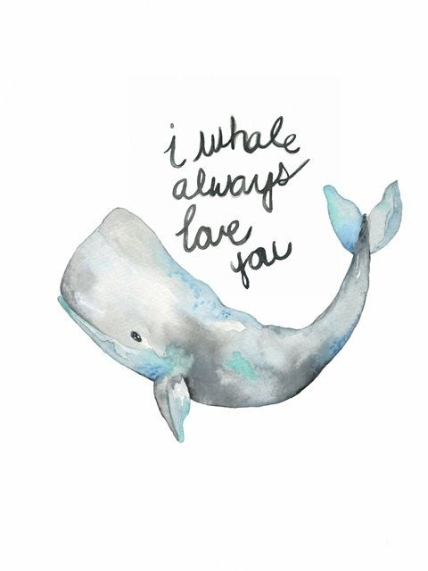 No. 2 Whale With words/ Gray / Watercolor Print by kellybermudez