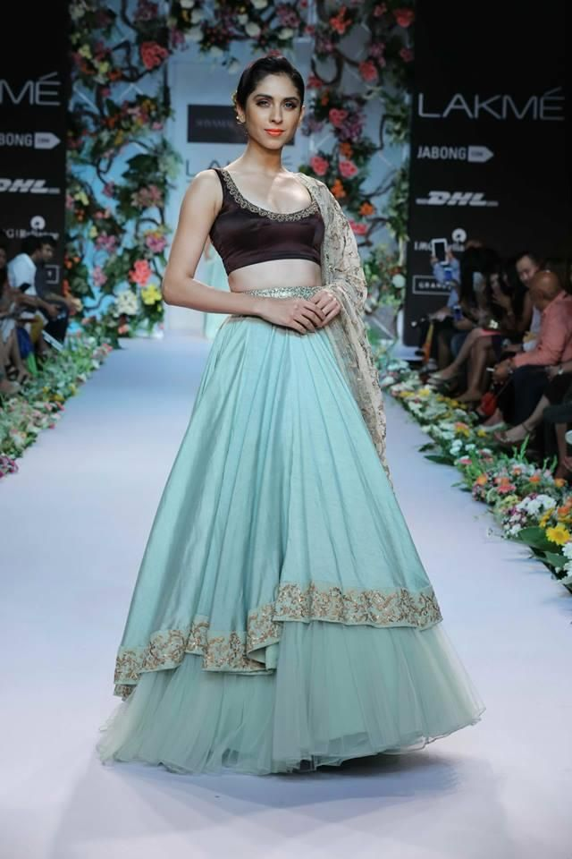Shyamal & Bhumika Lakme Fashion Week Summer Resort 2014 blue brown lehnga tulle