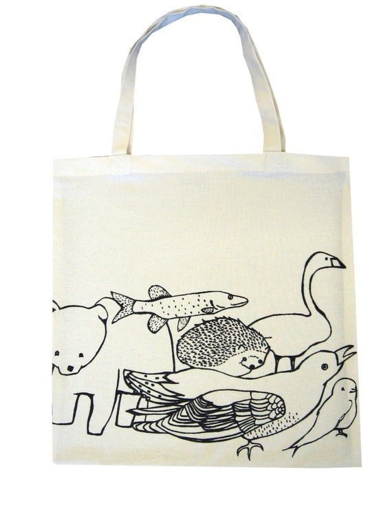 Finnish Animals tote made from recycled by andyeatsonlycandy, $20.00