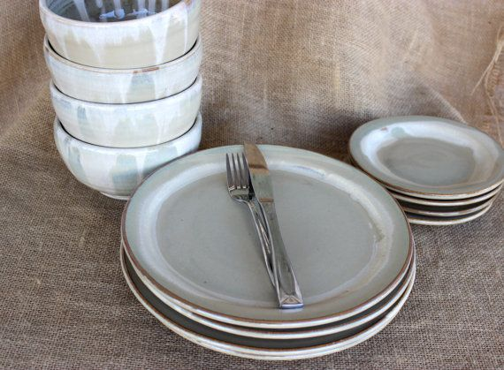 12-piece dinnerware set includes 4 of each wheel thrown stoneware 10-11 dinner plates, 6-7 salad/dessert plates, 5 x 3-4 bowls.  A lovely neutral dinnerware set that could stand out in any kitchen!! All items were thrown on the potters wheel, trimmed, signed by me, then glazed, and fired by me! Glazed in my vanilla/cream color which breaks brown/carmel color over the edge of the plate. These sets are made to order. Please allow 10 weeks for completion. If you need these by a certain date…