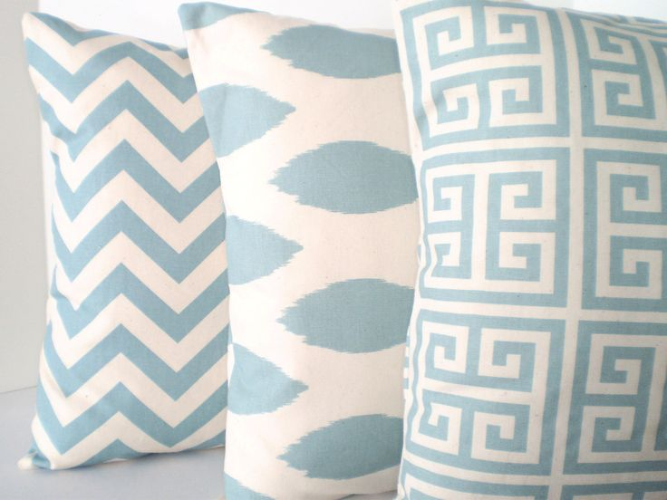 Throw Pillows Decorative Pillows Accent Pillows Cushion Covers Village Blue Natural BOTH SIDES - Combo Set of Three 16 x 16