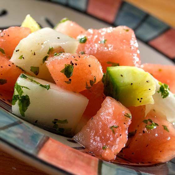 Marokkansk melonsalat. Den smager dejlig