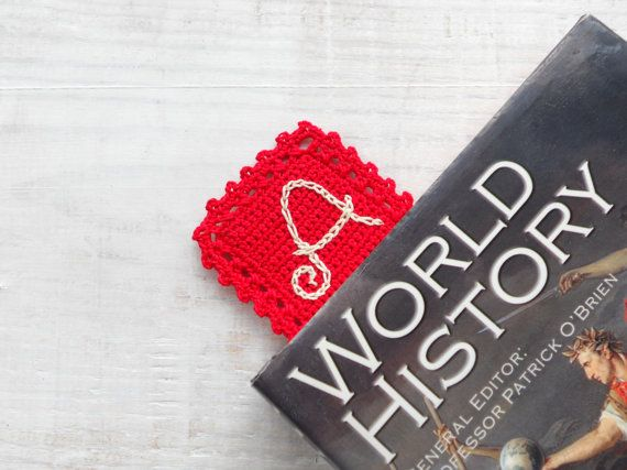 Made to order. Inform me about Your Preferences.  Collection: Crochet Letters on Crochet Things.  Handmade Crochet Red Bookmark with Crochet Ecru