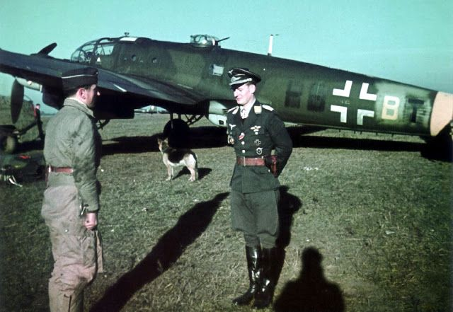 World War II in Color: Luftwaffe Bomber Ace Walter Grasemann in Front of He 111