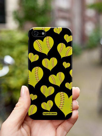 Inspired Cases Softball Heart Pattern Case http://www.inspiredcases.com/ #sports #baseball #phone  #Case #Iphonecase