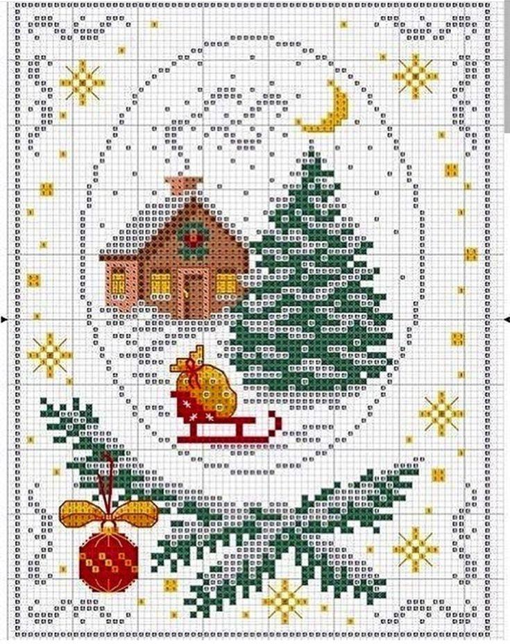 Открытка, вышивка крестом открытки новый год