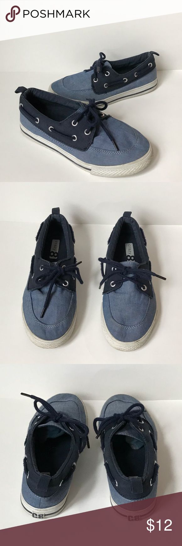Crazy 8 Boys Blue Boat Shoes Simply adorable! These boat shoes are perfect for the spring. The shoes have a color block blue and laces. Crazy 8 Shoes