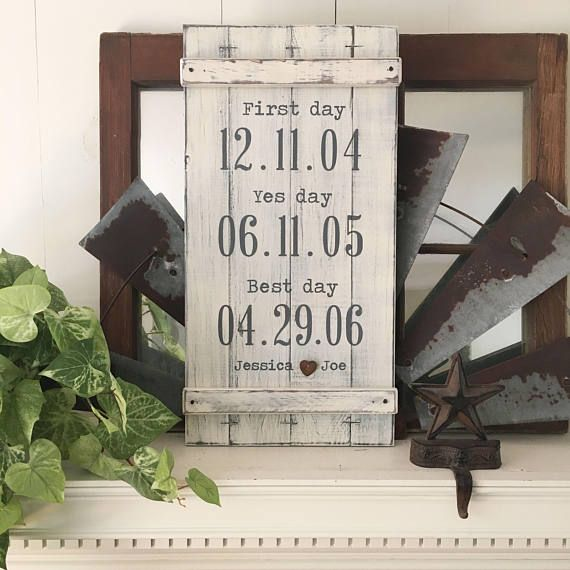 RUSTIC WEDDING SIGN dates the best day sign first day yes