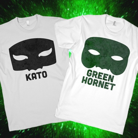 Green Hornet & Kato Paired Shirts http://www.lookhuman.com/collection/165-sweet-superhero-shirts? #superheros #duo #pair #couples #shirt #greenhornet #kato #brucelee #sixties #awesome