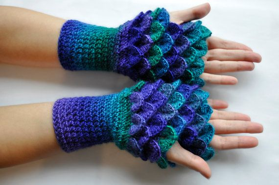 Dragon Scale Gloves / Mitts with a Thumb Hole (Handmade) [ Mittens / Wrist warmers / Fingerless Gloves ]