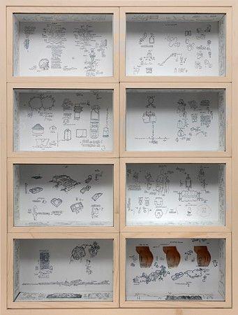 Gianfranco Baruchello <br> la formule - 2009 <br> Mixed media, wood, glass <br> 84 x 64 x 11 cm / 33,1 x 24,2 x 4,3 in.