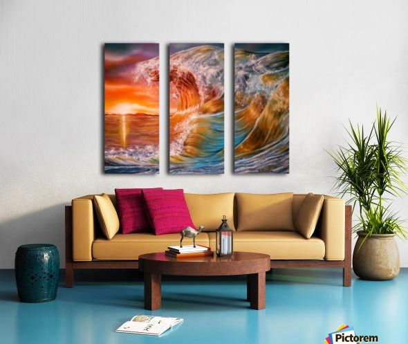 Triptych, wave,painting,ocean,scene,seascape,sunset,sunrise,beautiful,images,wall,art,vivid,colorful,multicolor,bright,gold,golden,orange,impressive,contemporary,modern,awesome,cool,home,office,decor,nature,water,rough,crashing,breaking,splashing,big,high,spray,light,fine,oil,items,ideas,panels,stretched,split,canvas