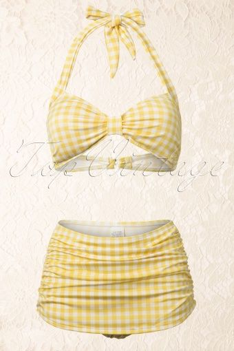 Esther Williams Swimwear - Classic Fifties Bikini Gingham Yellow White