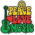 Disegno di pace amore musica reggae con chitarra, simbolo di pace, cuore e note musicali in colori Rasta.