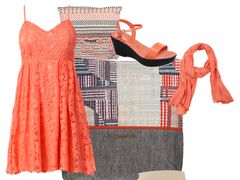 Coral lace dress by changeless
