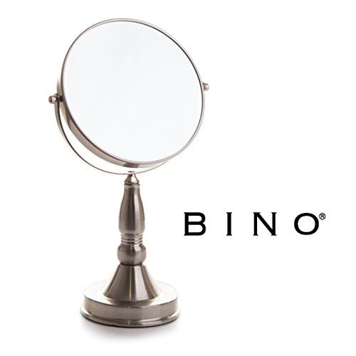 BINO 'The Scholar' 7.5-Inch Double-Sided Mirror with 5x Magnification, Satin Nickel. For product & price info go to:  https://beautyworld.today/products/bino-the-scholar-7-5-inch-double-sided-mirror-with-5x-magnification-satin-nickel/