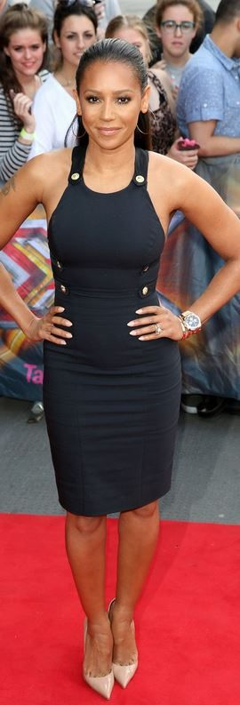 Mel B: Dress – Versace  Shoes – Christian Louboutin