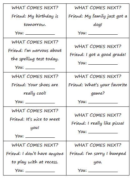 Free social what comes next? Great for practicing social skills and conversation skills with students.