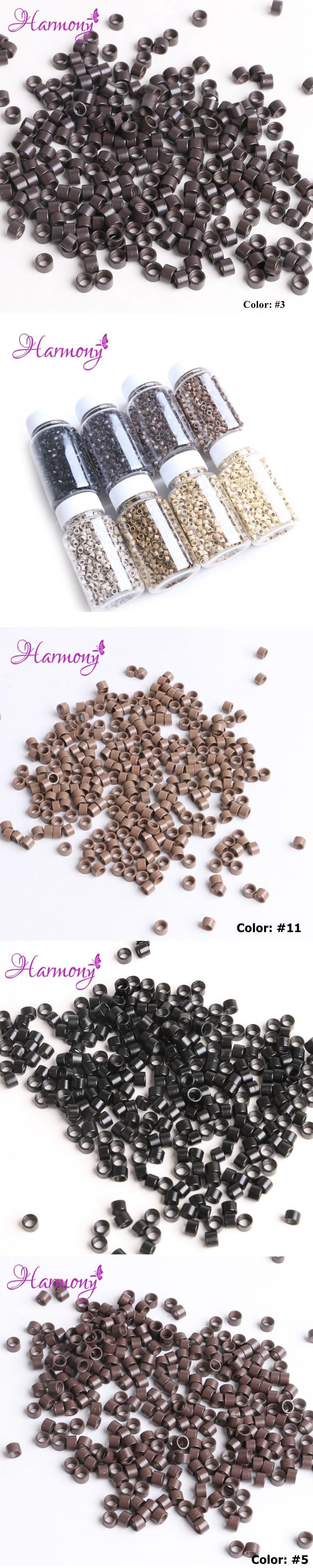 Harmony 1000Pcs/Bottle Screw Micro Rings 4.5*3.0*3.0MM  #1 Black Micro Crimp Beads Micro Bead Hair Extensions Accessories
