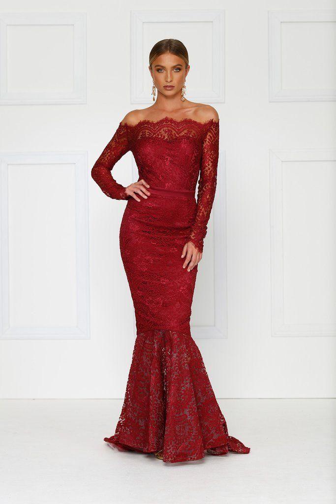 db3f23834814 Kamali Lace Gown - Burgundy