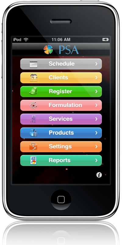 Personal Salon Assistant for iPad, iPhone, iPod Touch    Price: $99.00  Personal Salon Assistant is standalone salon management software for booth renters, salon owners, nail techs, and esthetician and more.   It features the tools needed to manage your clients, appointments, color formulations, products, and services. PSA requires no Internet access or desktop software, you control everything from your iPhone or iPod Touch!  Also, there are NO extra fees for maintenance & support.