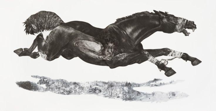 Diane Victor, 4 Horses Baited, 2009, Etching, digital printing 105 x 200cm (Goodman Gallery) | Marvellous Art Musings